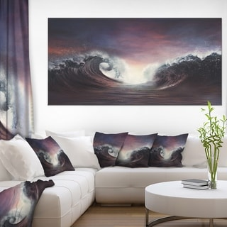 Dark Parting Ocean with Colorful Clouds - Seashore Canvas Wall Art