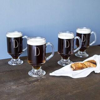 Personalized Irish Glass 10-ounce Coffee Mugs (Pack of 4)