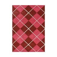 Alliyah Rugs Cranberry Red/White/Pink Wool Diamond Design Rug - 5' x 8'