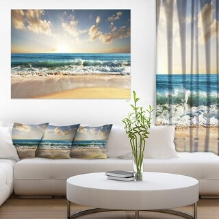 Cloudy Sky and Vibrant Blue Sea - Seashore Canvas Wall Art