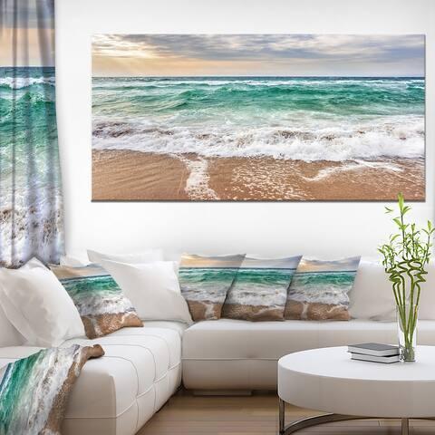 Crystal Clear Blue Foaming Waves - Seashore Canvas Wall Art