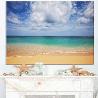 Bright Seashore with Heavy Clouds - Modern Beach Canvas Art Print