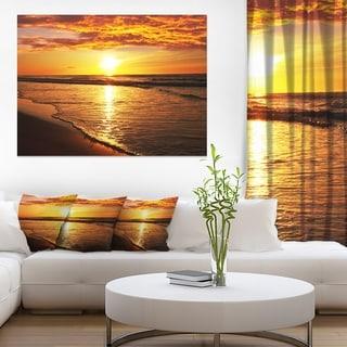 Bright Yellow Sunset over Waves - Modern Beach Canvas Art Print