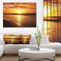 Bright Yellow Sunset over Waves - Modern Beach Canvas Art Print
