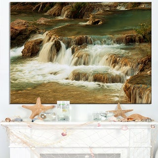 Waterfall Cascade with White Waters - Modern Landscape Wall Art Canvas