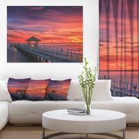 Long Wooden Bridge and Colorful Sky - Sea Bridge Canvas Wall Artwork