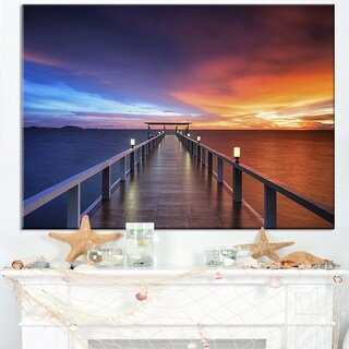 Picturesque Seashore with Long Pier - Sea Pier Wall Art Canvas Print