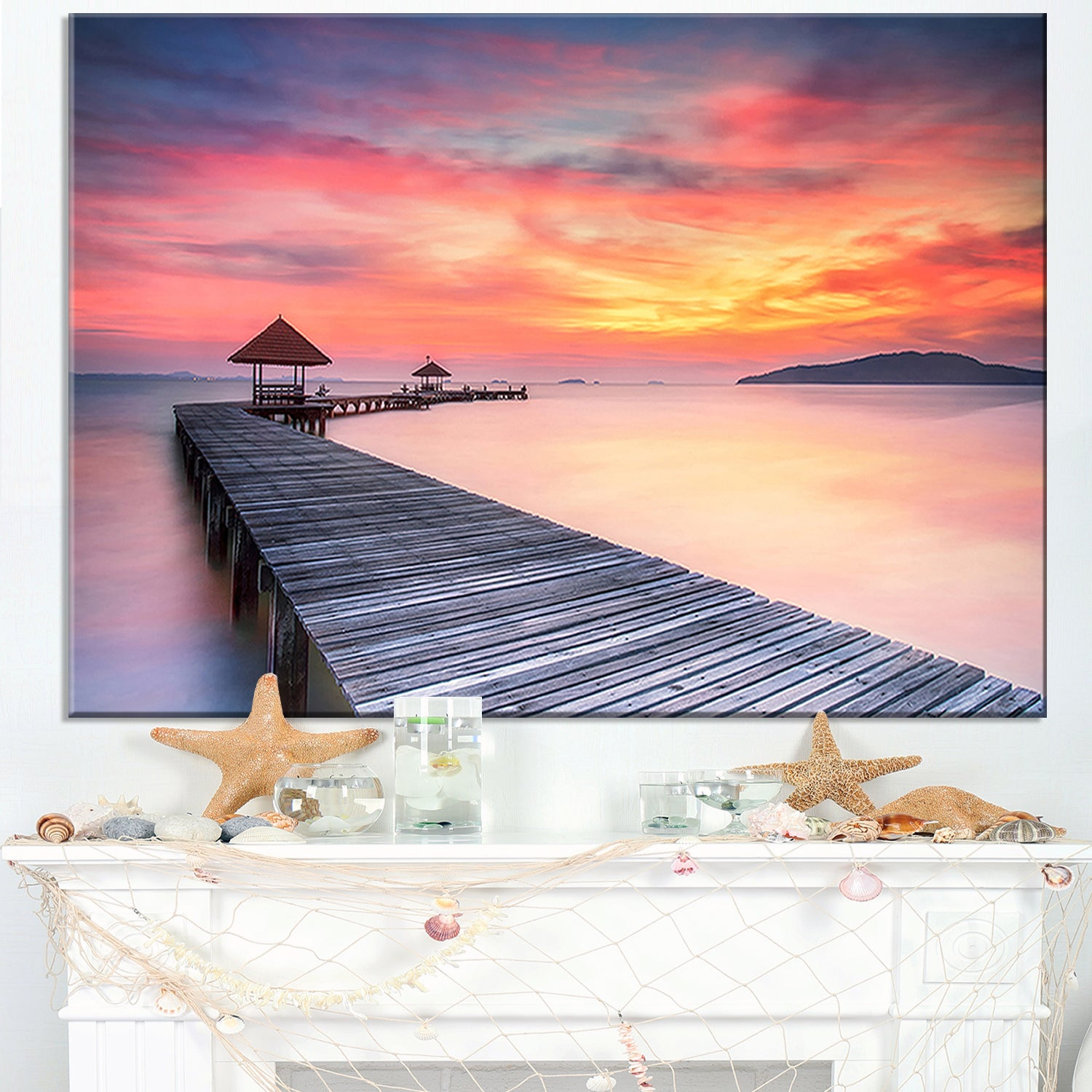 Stylish Wooden Bridge And Beach Sky Sea Pier Wall Art Canvas Print On Sale Overstock 12221675