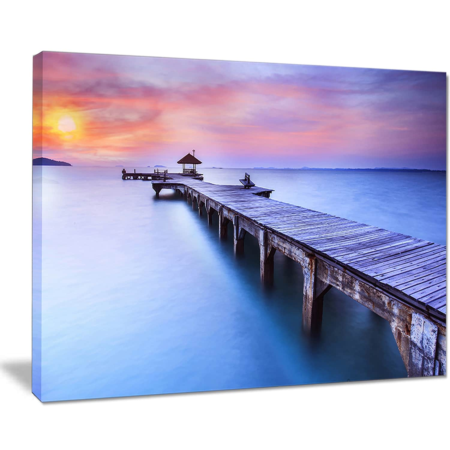 Beach With Blue Waters And Wood Bridge Sea Pier Wall Art Canvas Print Overstock 12221684