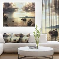 Rocky Seashore under Clouds Panorama - Modern Beach Canvas Art Print