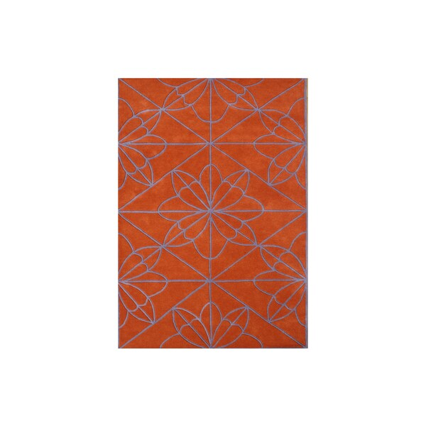 Alliyah Rugs Orange/Violet Wool Floral Graphic Windowpane Accent Rug - 8' x 10'