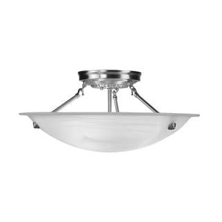 Livex Lighting Oasis Brushed Nickel Steel/Alabaster Glass 3-light Ceiling Mount Light