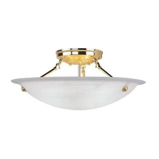 Livex Lighting Oasis Polished Brass Steel/Alabaster Glass 3-light Ceiling Mount Lamp