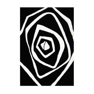Alliyah Artistic White Rose Fashion Wool Rug (8' x 10')