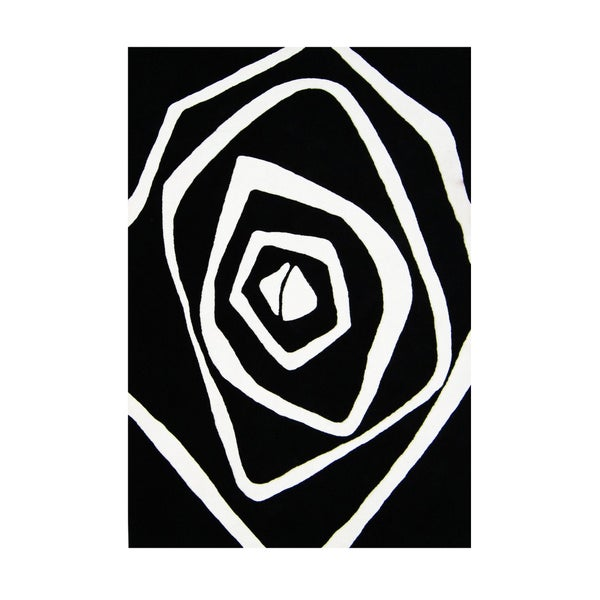 Alliyah Artistic White Rose Fashion Wool Rug (8' x 10')
