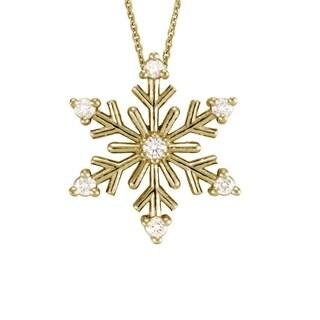14k Gold Vintage Snowflake Diamond Accent Necklace