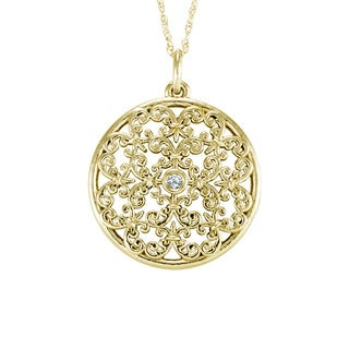14k Gold Vintage Disc Diamond Accent Necklace