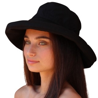 Palms & Sand Women's Black Cotton Crushable Beach/Sun Hat with UPF 50+ UV Sun Protection