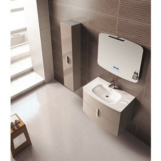 Eviva Round 39-inch Wall Mount Brown Modern Bathroom Vanity with White Integrated Porcelain Sink