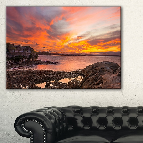 Sunset Sky Panoramic Sydney View - Large Seashore Canvas Print