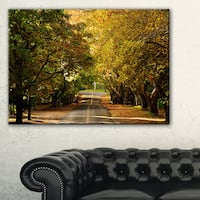 Road through Beautiful Green Trees - Landscape Art Print Canvas