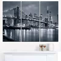 Panorama New York City at Night - Cityscape Canvas print - Blue