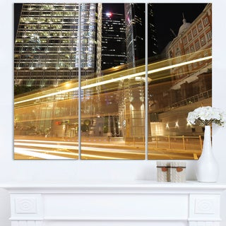 Traffic and Urban Life at Night - Cityscape Artwork Canvas
