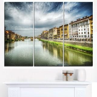Arno River under Dramatic Sky - Cityscape Canvas print