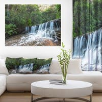 Beautiful Waterfall in New Australia - Landscape Art Print Canvas - Green