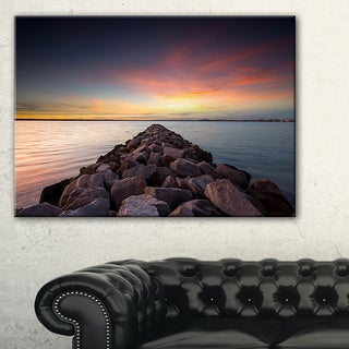 Long Stone Bridge into Beautiful Sea - Large Seashore Canvas Print