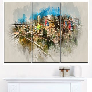 Villajoyosa Town Watercolor  - Cityscape Artwork Canvas