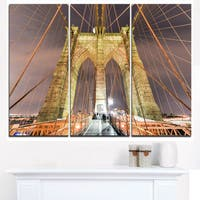 Brooklyn Bridge Tower and Cabling  - Cityscape Canvas print - Blue