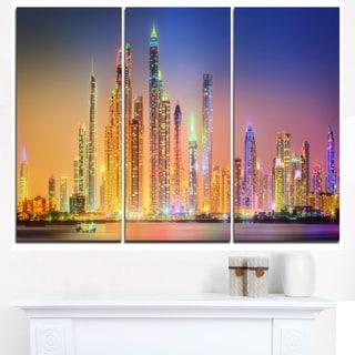 Dubai Marina Skyscrapers Panorama - Cityscape Canvas print