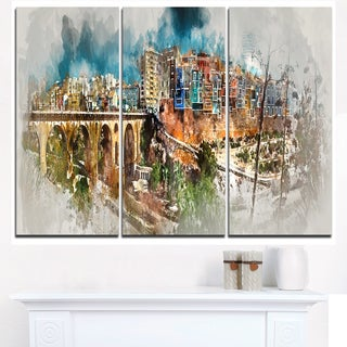 Villajoyosa Town Digital Art Panorama - Cityscape Artwork Canvas