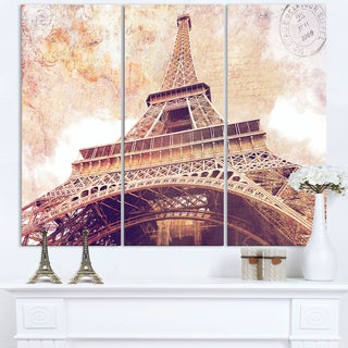 Paris Eiffel Tower Paris Postcard Design - Cityscape Canvas print