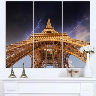 Storm above Paris Eiffel Tower in Paris - Cityscape Canvas print