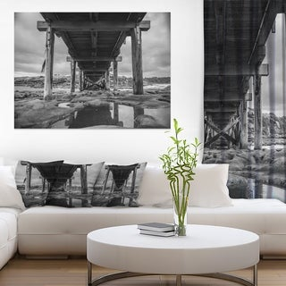 Black and White Large Wooden Bridge - Sea Bridge Canvas Wall Artwork