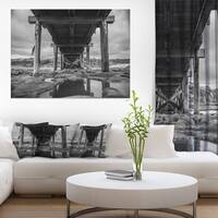 Black and White Large Wooden Bridge - Sea Bridge Canvas Wall Artwork