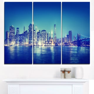 Blue New York City at Night Panorama - Cityscape Canvas print