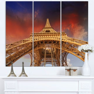 Beautiful View of Paris Eiffel Tower under Red Sky - Cityscape Canvas print