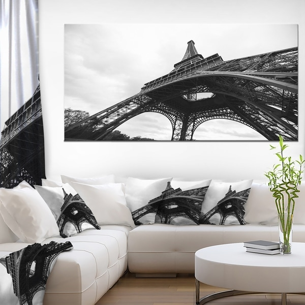Paris Eiffel Tower in Black and White Side View Cityscape Canvas print. Opens flyout.