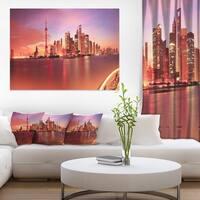 Shanghai Skyline at Dawn Panorama - Cityscape Canvas print - Blue