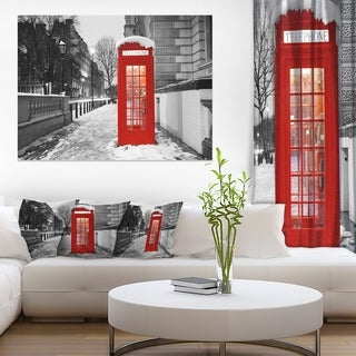 Red London Telephone Booth - Cityscape Canvas print