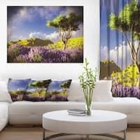 Bright Lavender Garden Field - Modern Landscape Wall Art Canvas - Purple