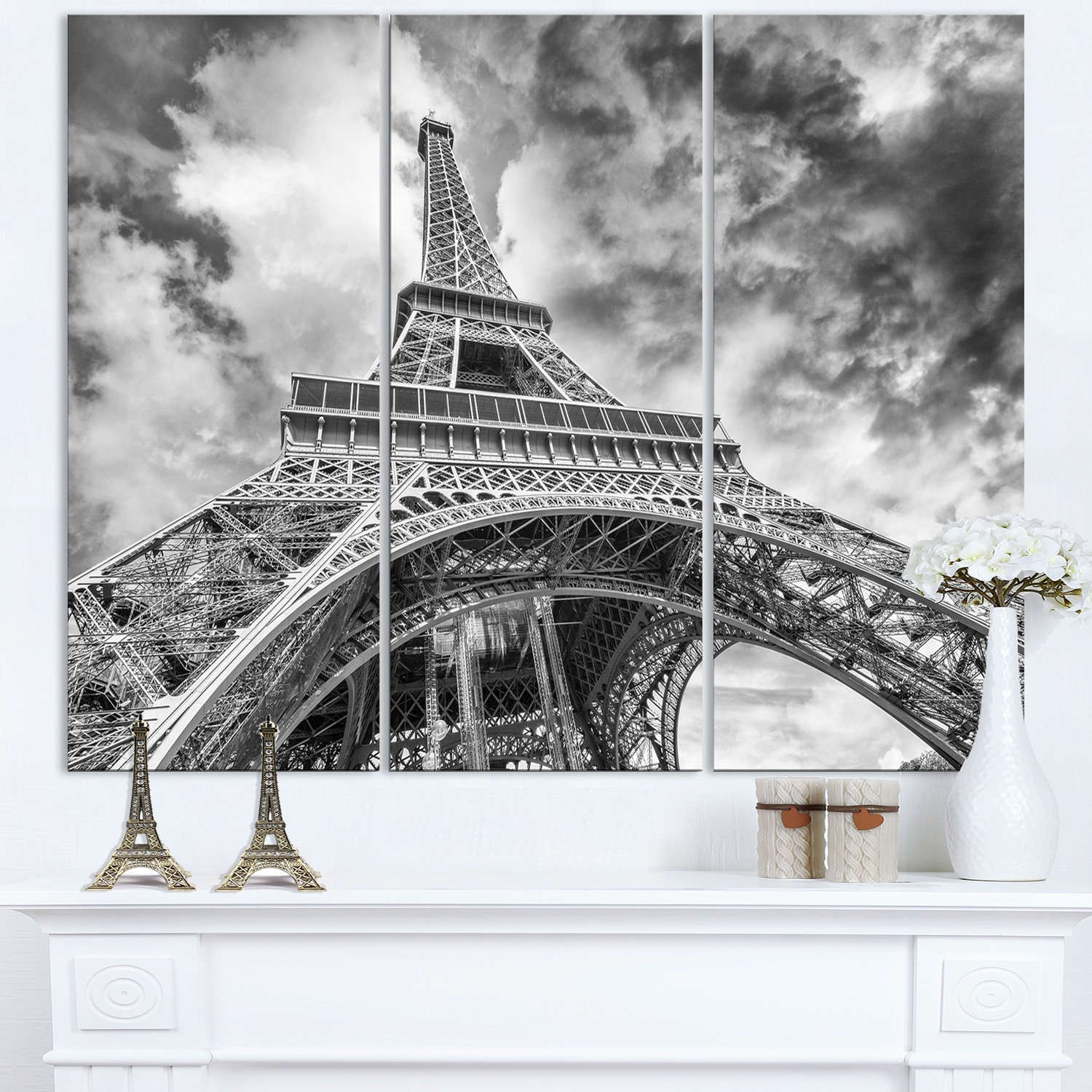 Shop Black And White View Of Paris Eiffel Tower Cityscape Canvas Print Blue Overstock 12221924