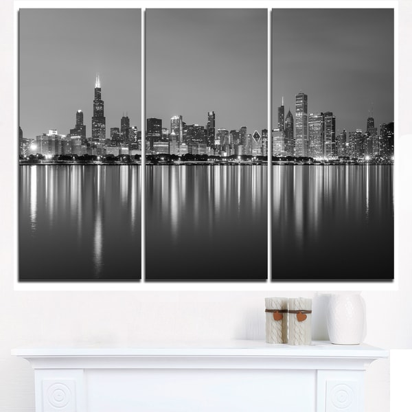Chicago Skyline at Night Black and White - Cityscape Canvas print - Blue. Opens flyout.