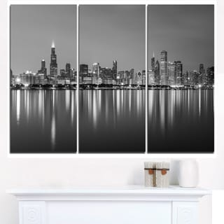 Chicago Skyline at Night Black and White - Cityscape Canvas print