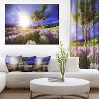 Lavender Field under Blue Sky - Modern Landscape Wall Art Canvas - Purple