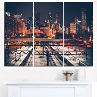 Dark Chicago Skyline and Railroad - Cityscape Canvas print