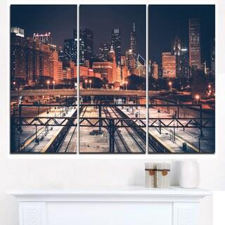Dark Chicago Skyline and Railroad - Cityscape Canvas print